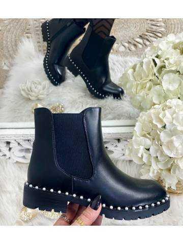 Mes bottines Chelsea black & pearls