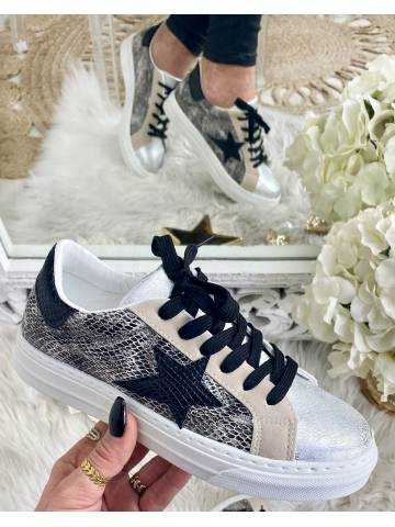 Mes jolies baskets silver and Black Star