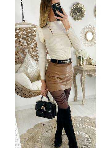 Mon short/jupe camel style cuir & chaine