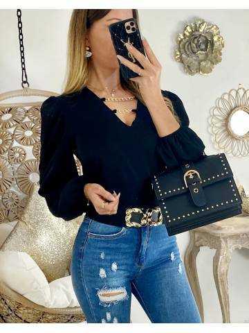 """Jolie blouse noire """"col V & chain"""""""
