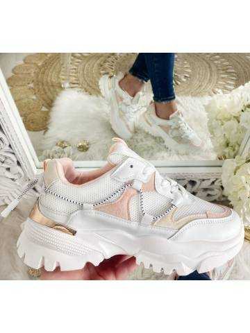"""mes jolies sneakers white & pink """"gold"""""""