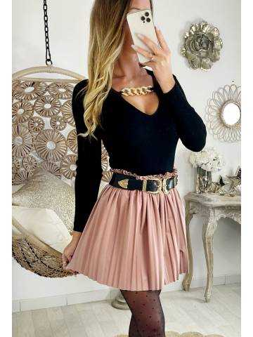 "Ma jolie Jupe rose style cuir ""plissée"""