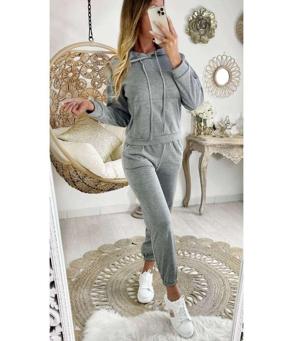 Mon ensemble jogging Grey à capuche