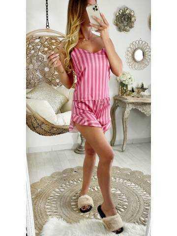 Mon ensemble 2 pièces pyjama short rose rayé