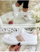 Mes jolies baskets blanches et roses strass