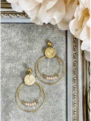 """Mes boucles d'oreilles créoles """"Gold and Pearls nude"""""""