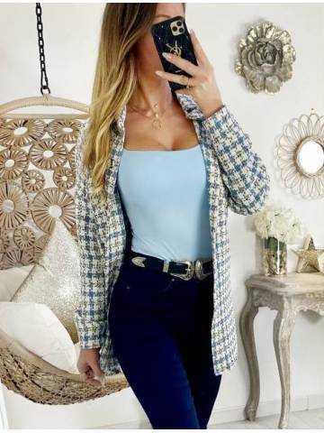 Ma veste / Surchemise en tweed white & blue