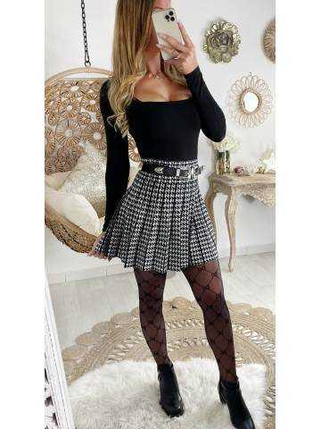 """Ma petite jupe en maille plissée black  """"pied de poule"""""""