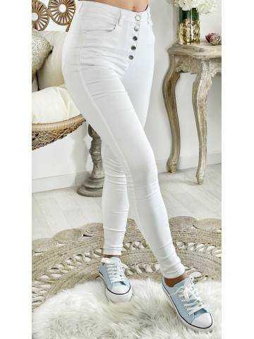 """Mon Jeans blanc taille haute """"boutonné"""""""