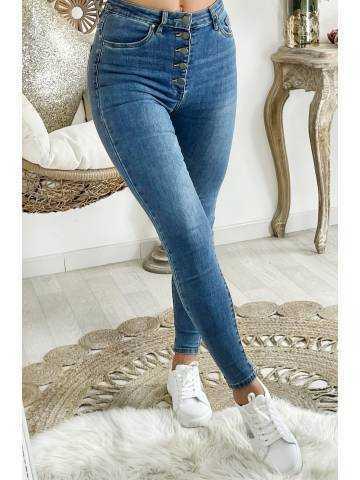 """Mon Jeans bleu medium taille haute """"boutonné"""""""