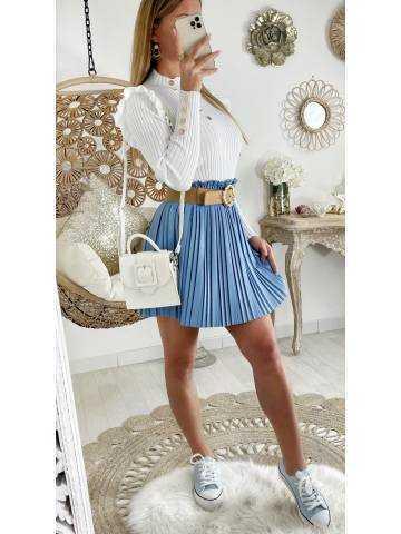 """Ma jolie Jupe bleue ciel style cuir """"plissée"""""""