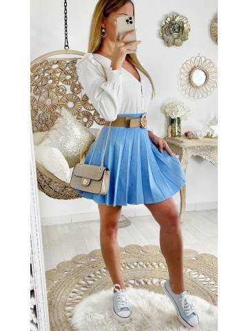 """Ma jupe en maille bleu ciel """"plissée"""""""