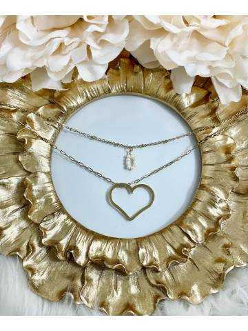 """collier gold multi chaînes """"charms & Heart"""""""