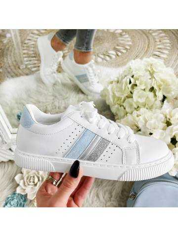 """Mes jolies baskets blanches  """"Silver & Blue"""""""