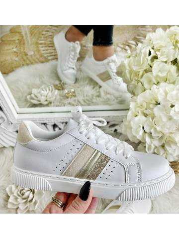 """Mes jolies baskets blanches  """"Gold & beige"""""""