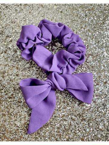 """chouchou purple avec noeud """"écolière"""""""