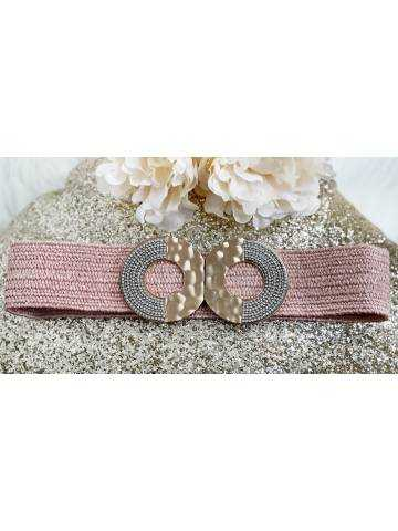 Ceinture élastique rose «strass and gold»