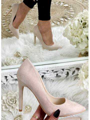 Escarpin style daim beige rosé