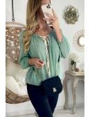 """Ma blouse ample voilage """"vert d'eau & plumetis"""""""