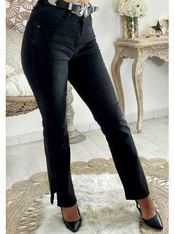 """Mon jeans Flare taille haute noir """"fendu"""""""