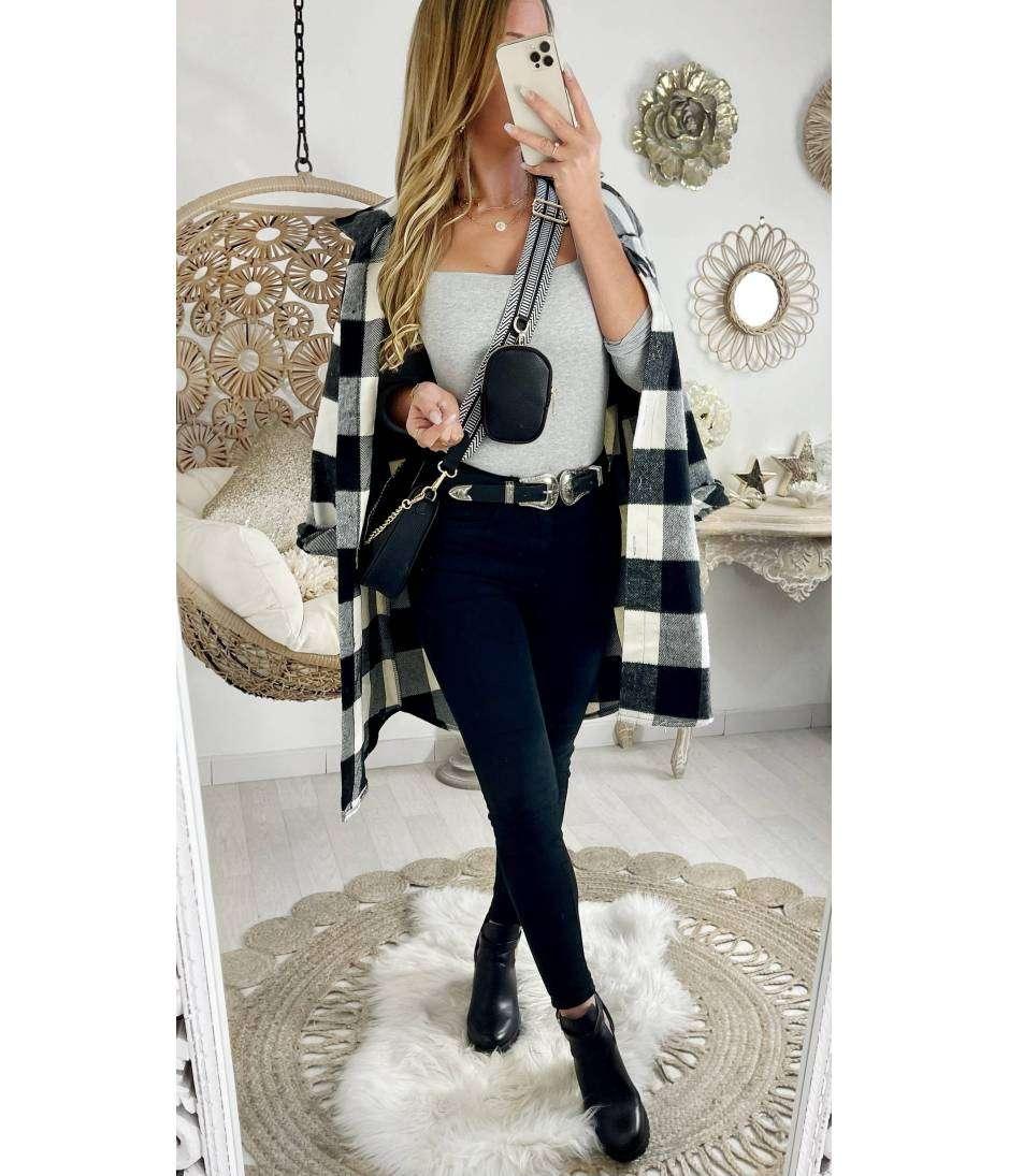 Ma veste en lainage mi-longue loose à carreaux white & black