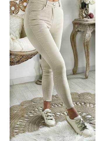 Mon Jeans beige nude taille haute