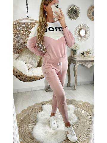 """Mon ensemble sweat et jogging pink & Cream """"Amour """""""