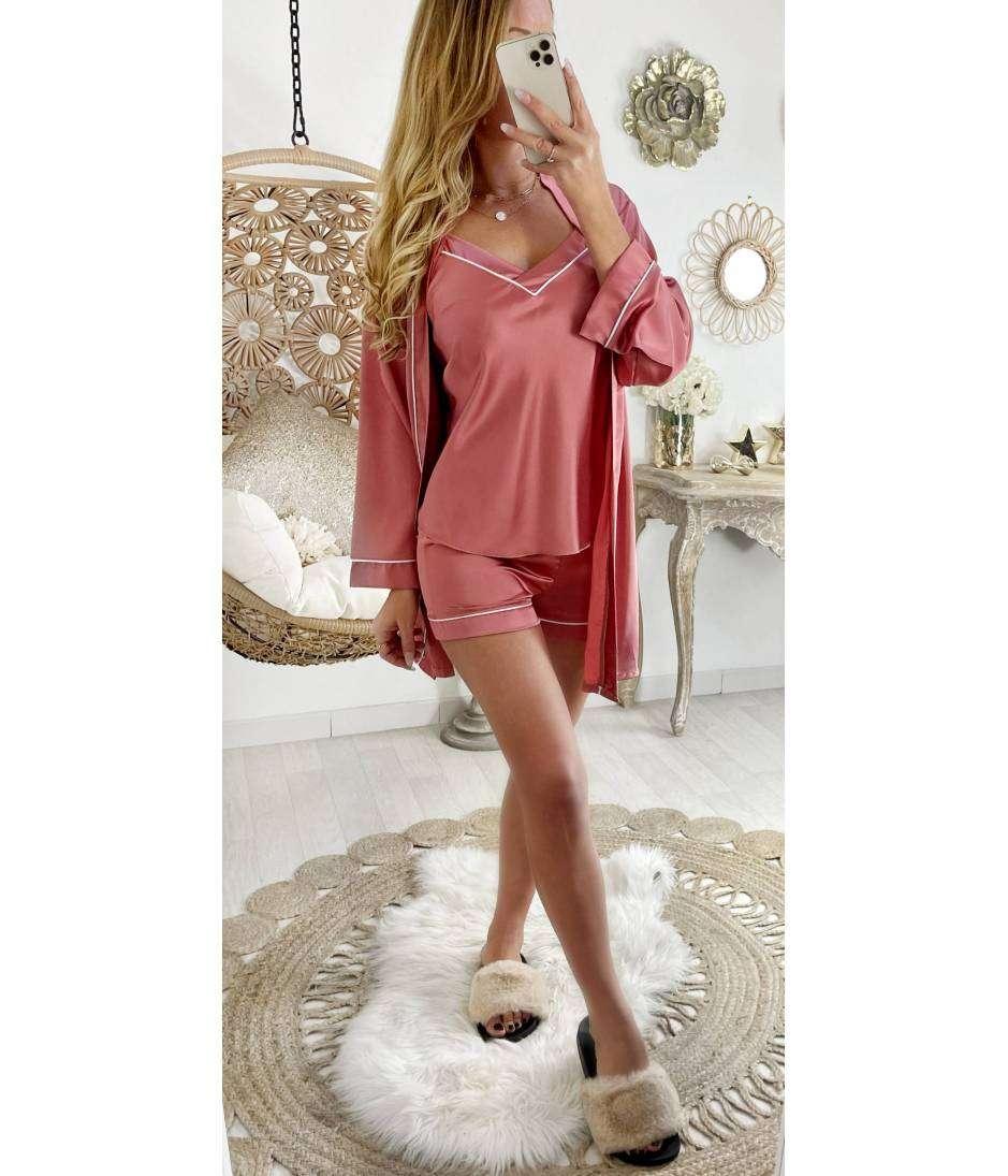 Mon ensemble 3 pièces pyjama short satiné rose blush