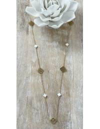 Mon sautoir gold jolie chaine et perles blanches