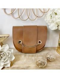 Petit sac style cuir camel & chain