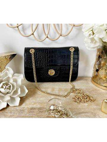 "Mon joli sac à bandoulière black croco ""gold Chain"""