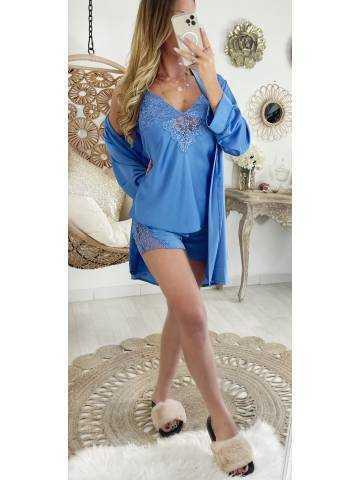 Mon ensemble 3 pièces pyjama short satiné bleu ciel II