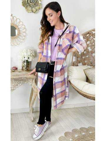 Ma veste longue lainage loose à carreaux pink & purple