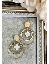 Boucles d'oreilles créoles gold et trèfle nacré