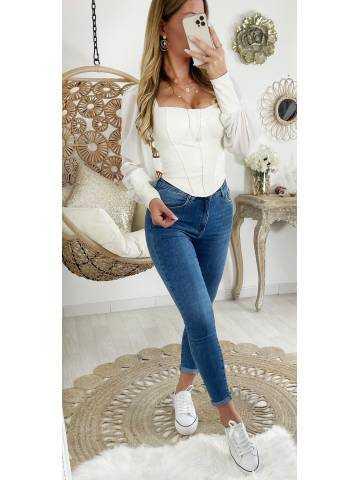 Mon joli style cuir & corset blanc
