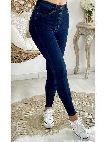 Mon Jeans taille haute boutonnée dark blue basic
