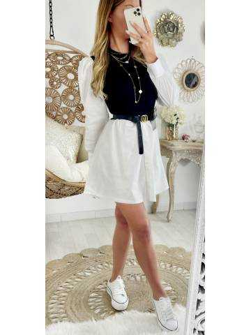 Ma chemise robe effet deux pièces White/ Black   and Pocket