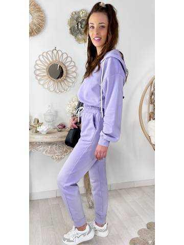 Mon ensemble jogging lila veste zippée et capuche