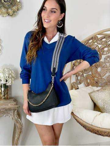 Ma robe/ tunique bleu jeans effet deux pièces chemise
