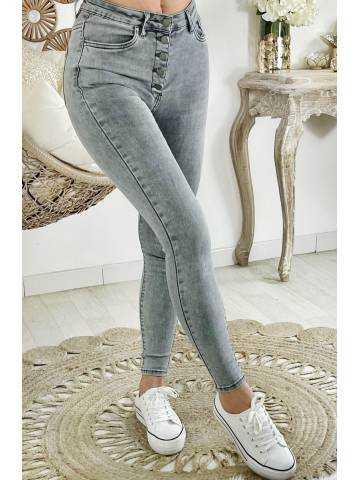 """Mon Jeans gris clair taille haute """"boutonné"""""""