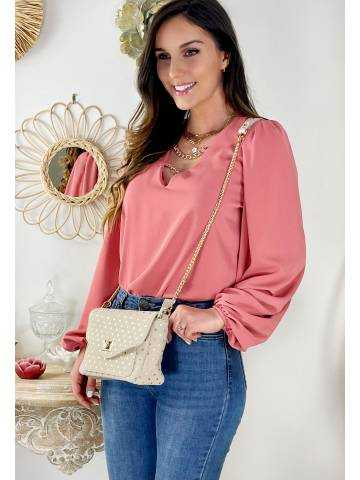 "Jolie blouse rose blush ""col V & chain"""