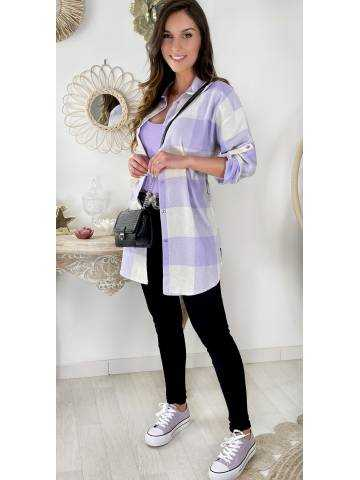 Chemise loose à carreaux purple