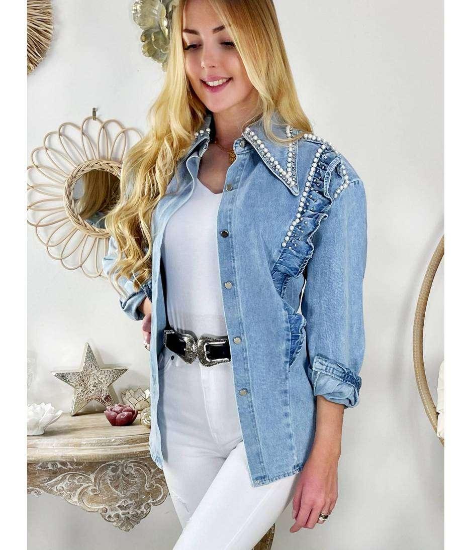"Ma veste en jeans loose joli col ""Pearls & volants"""