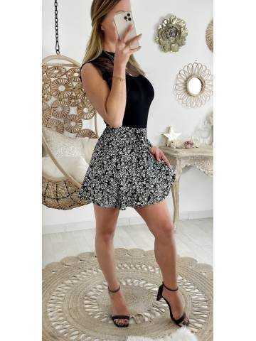"Ma jolie jupe short black & White et volants ""flowers"""