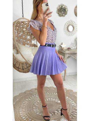 Ma petite jupe en maille plissée lila