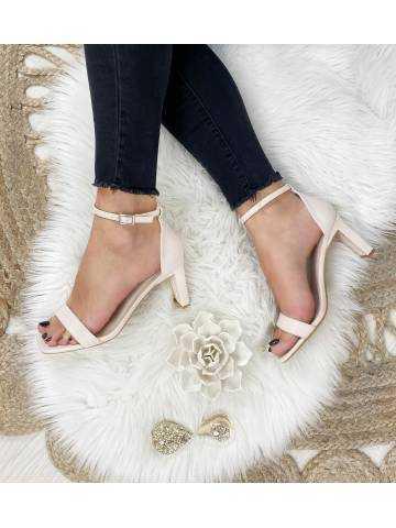 Mes jolies sandales beige nude talons carrés