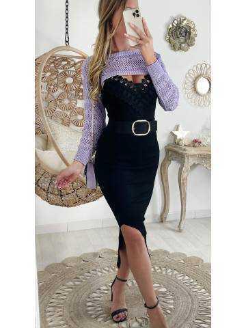 Ma superbe jupe Black longue fendue côtelée