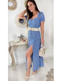 """Ma robe longue fendue et col carré""""blue & flowers"""""""