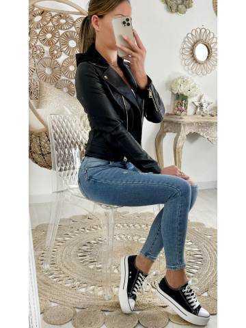 Mon blouson style cuir black & capuche