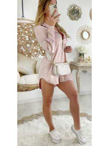 Ma jolie robe/tunique rose boutonnée et satinée